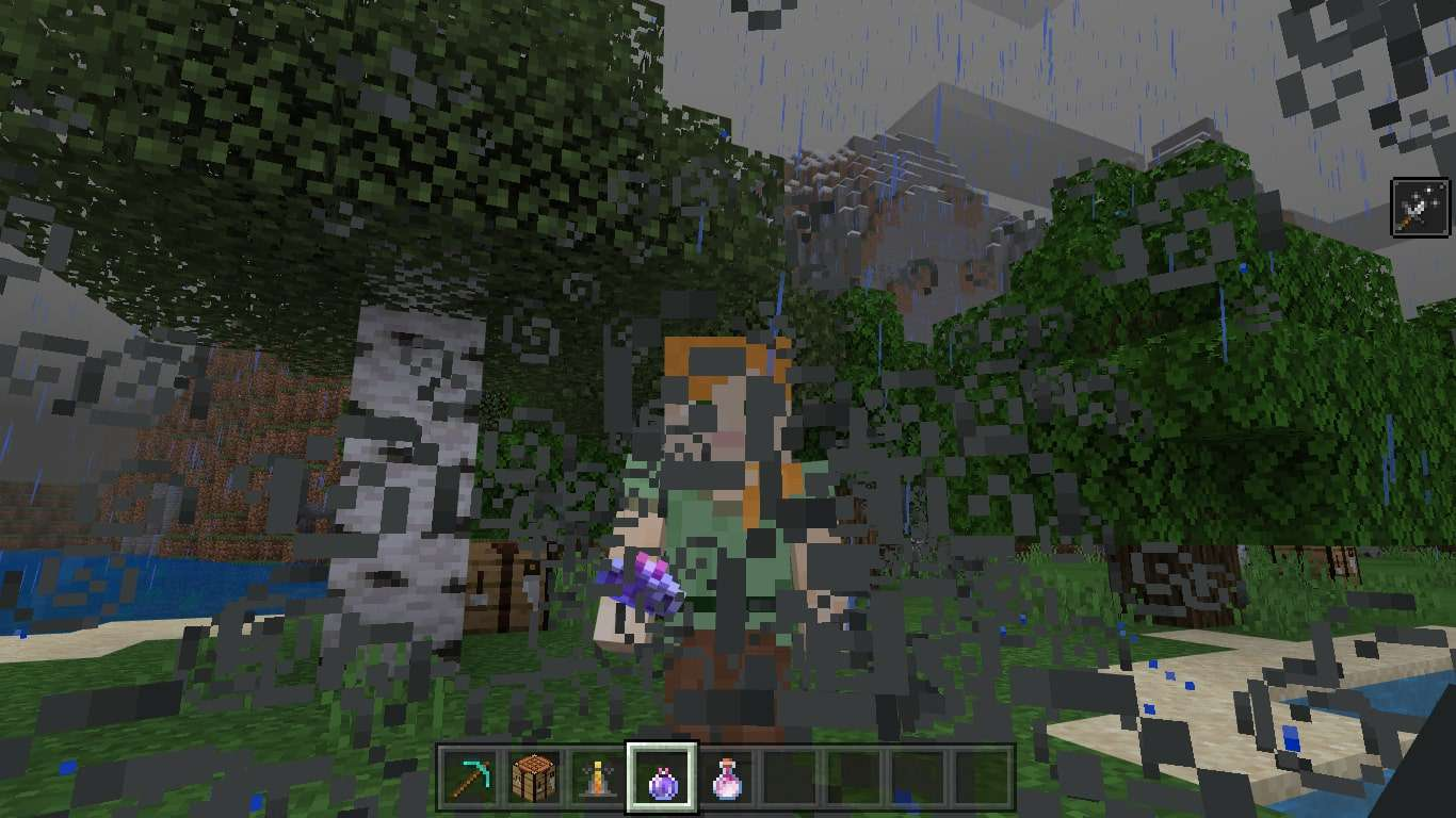 Player standing in a Lingering Potion cloud in Minecraft