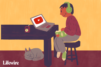 Illustration of a person watching YouTube on their laptop.