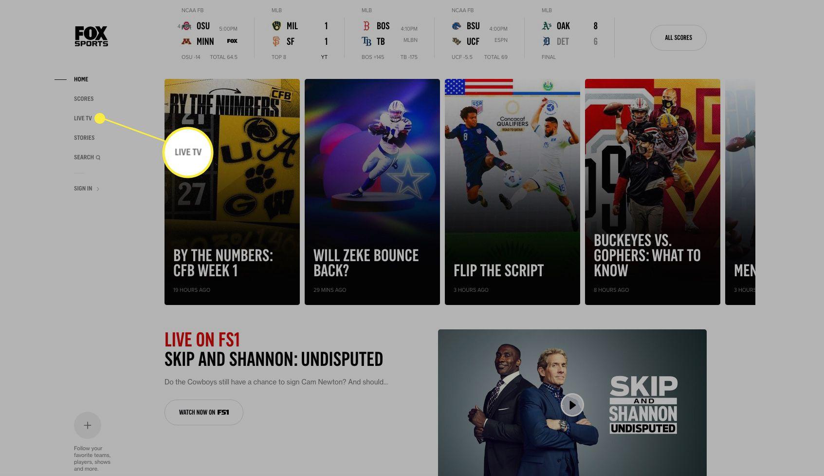 Fox Sports.com website with Live TV highlighted