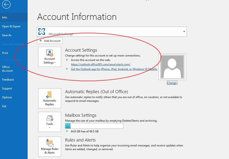 Image of Outlook account settings