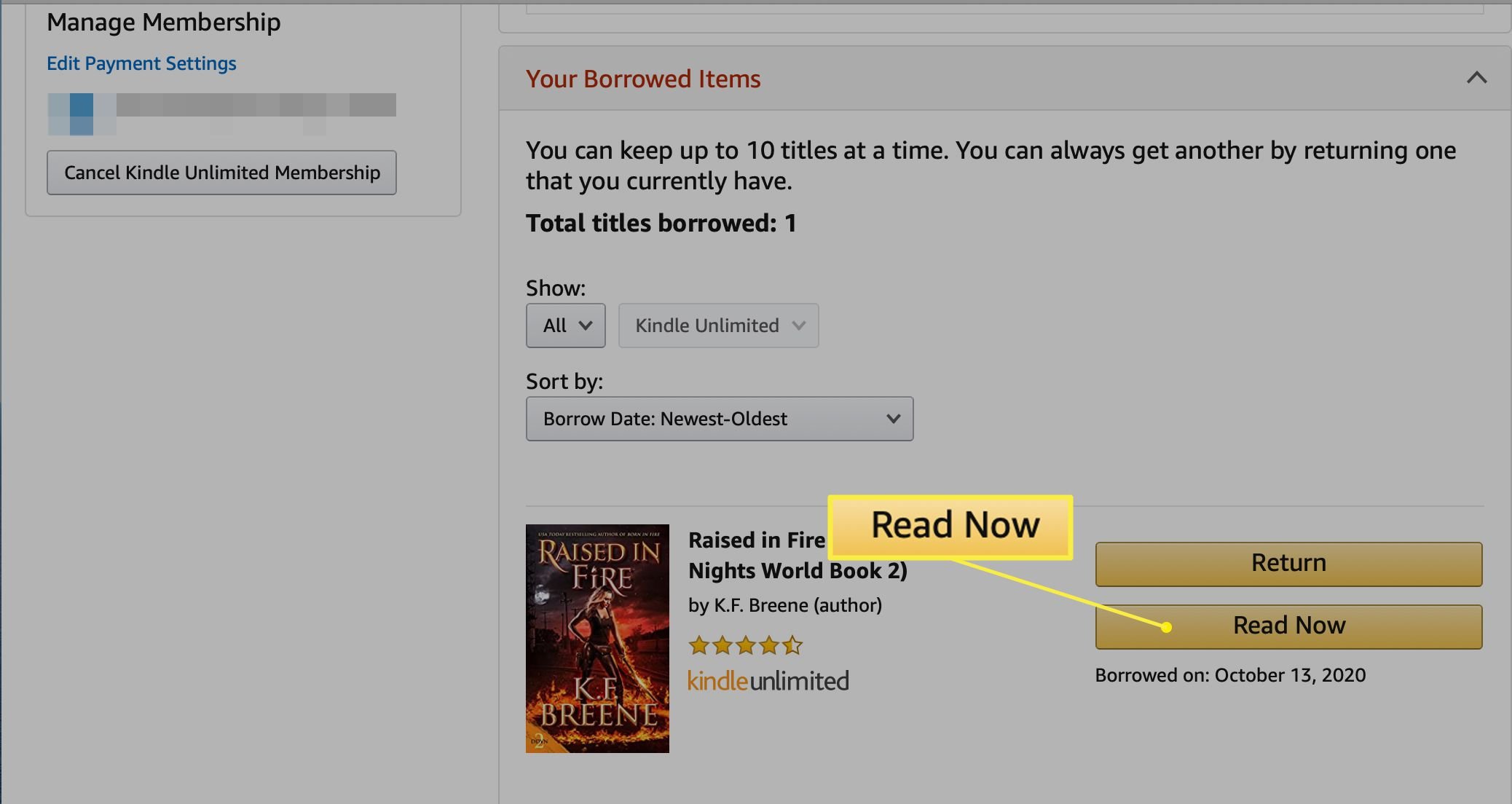 Your Borrow Items list in Kindle Unlimited