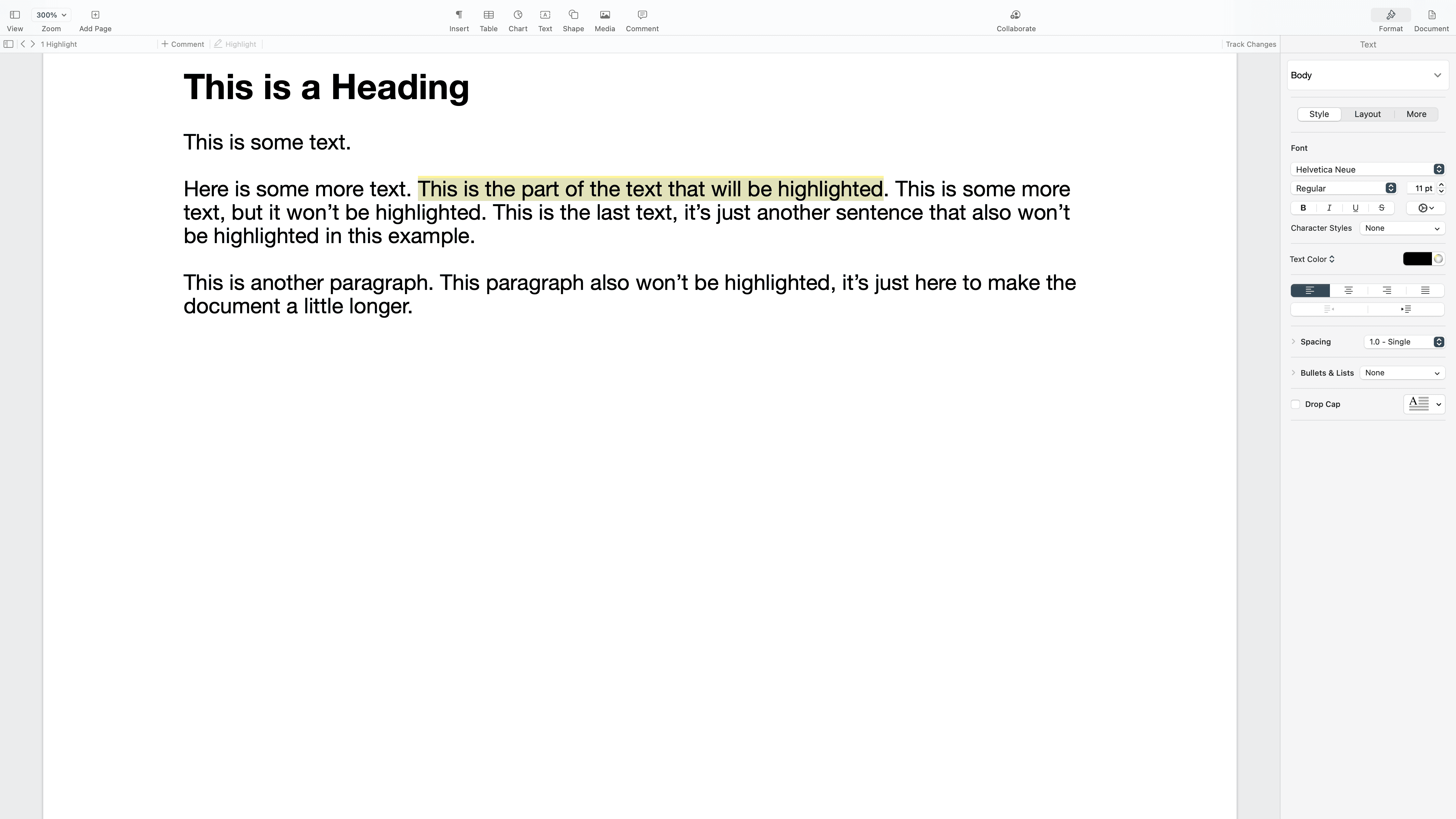 Text highlighted and selected in Pages.