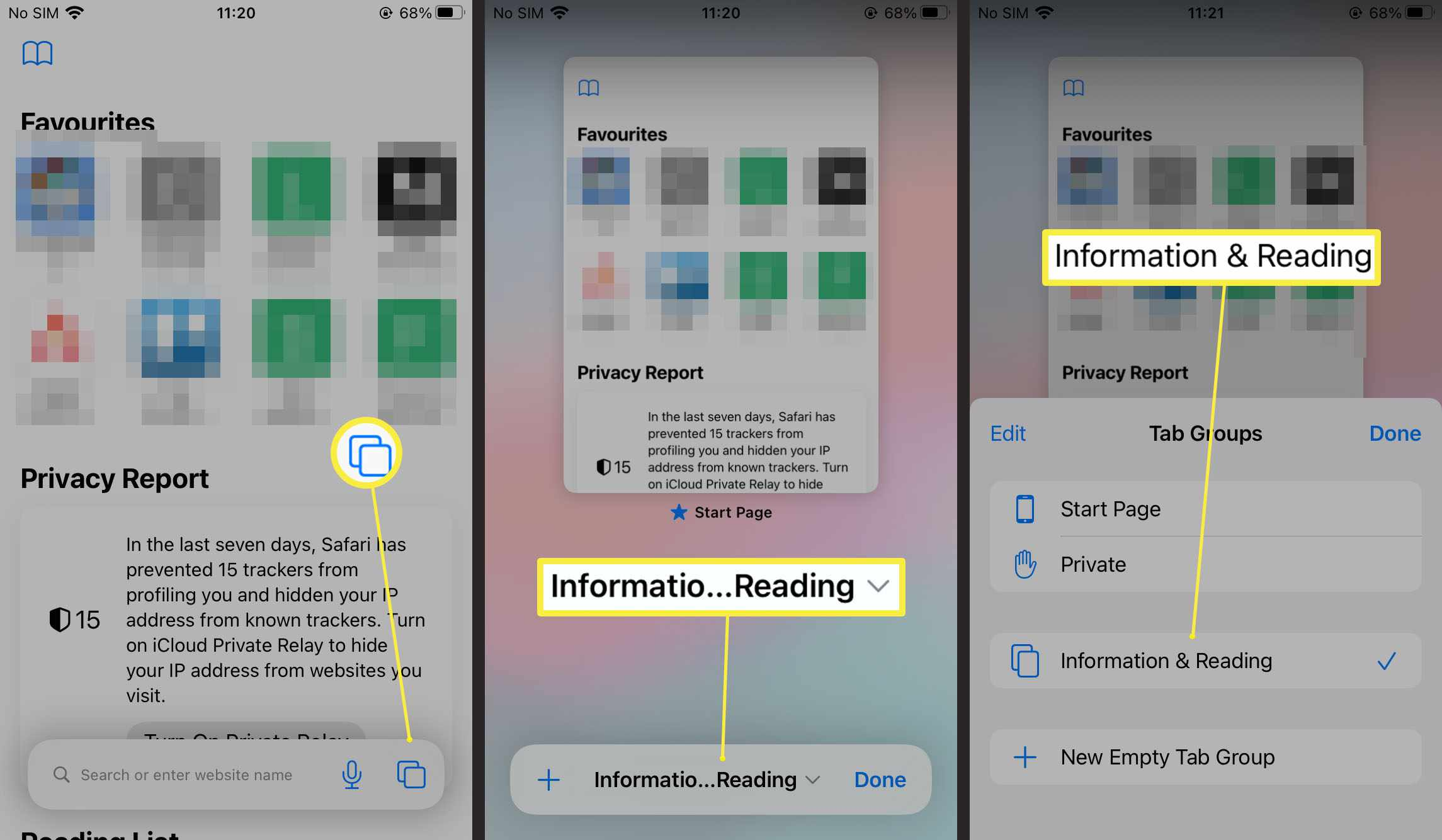 Steps needed to rename tab group in Safari on iOS 15