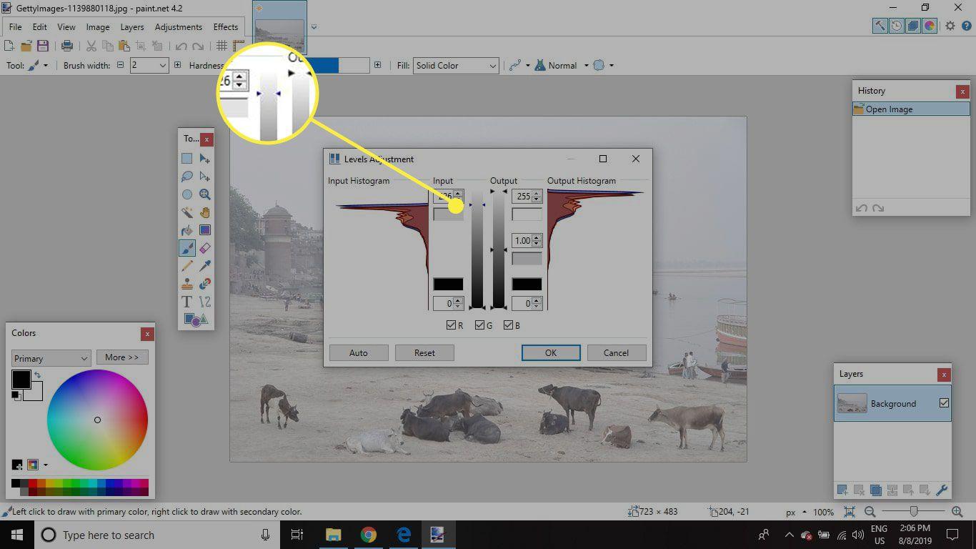 A screenshot of Paint.Net with the upper input slider highlighted