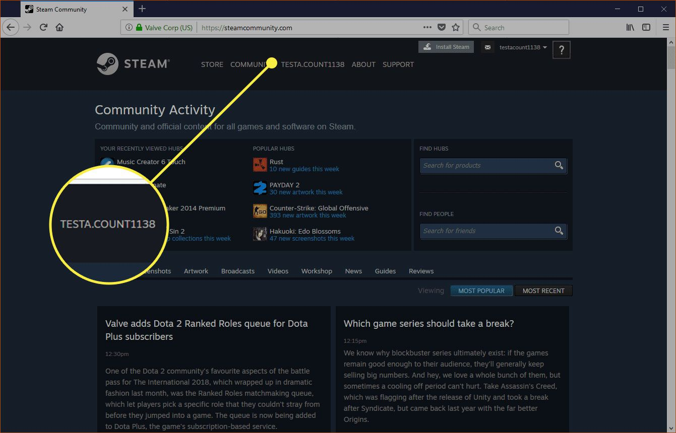 Steam with a username highlighted