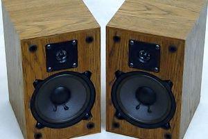 Two wooden-like speakers.