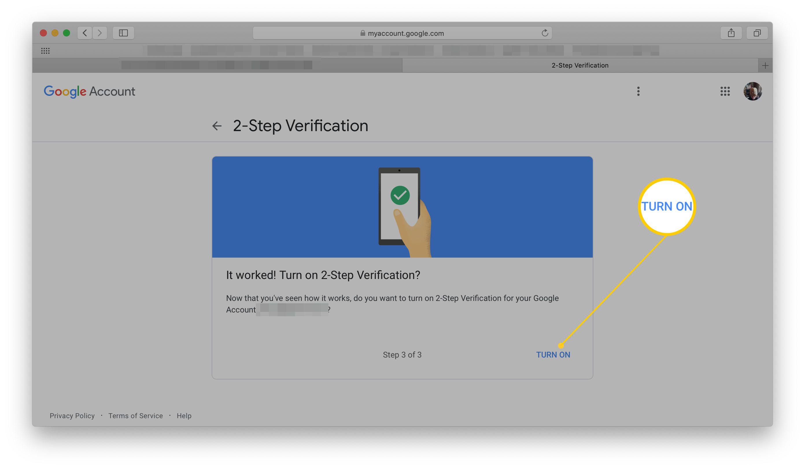 Google 2-Step Verification Turn on option
