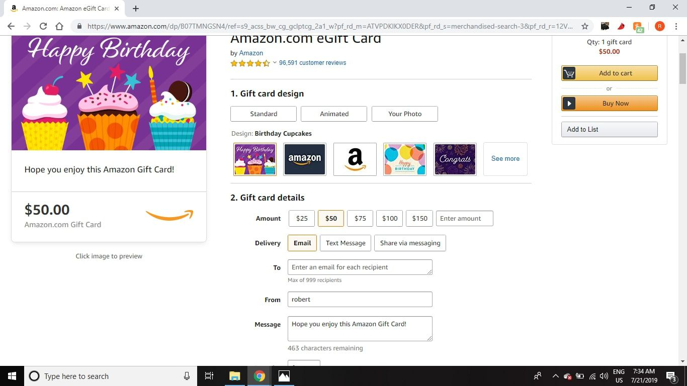 Choose the amount and delivery method for your Amazon e-gift card