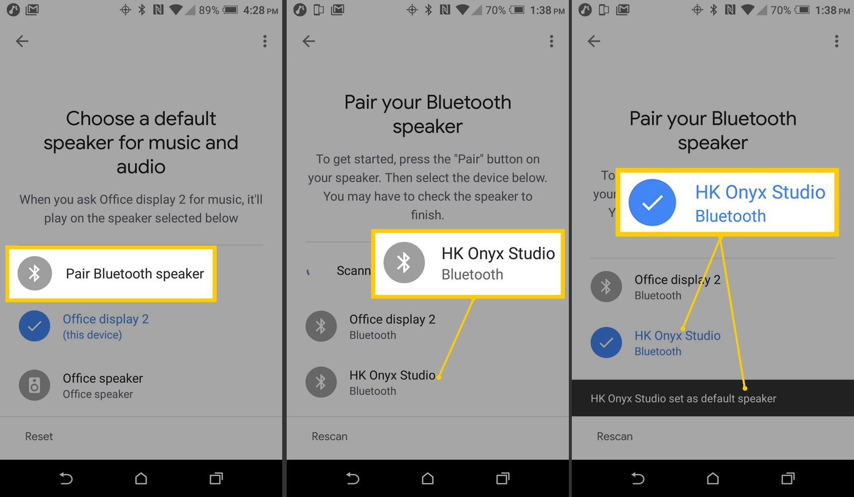 Screenshots on Android of Google Home App choosing and pairing Bluetooth speaker.