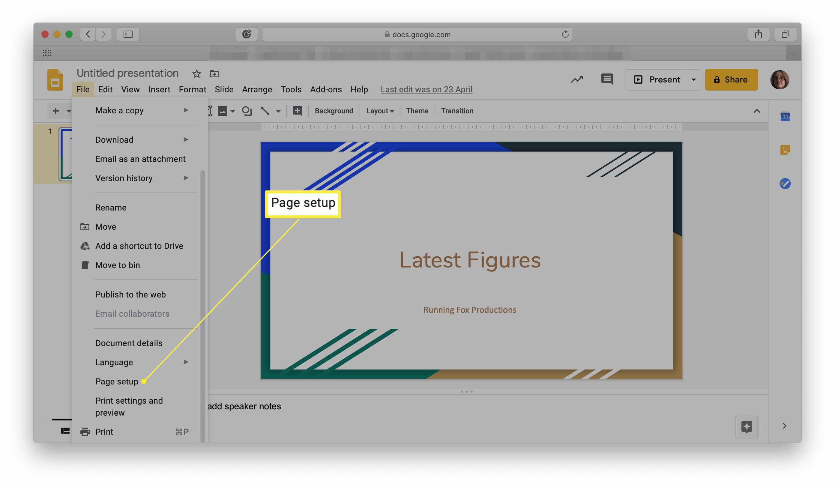 Google Slides with Page Setup highlighted