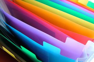 Macro of a vinyl colorful organizing case.