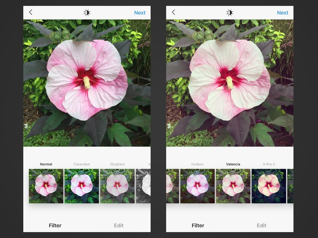 Two screenshots of Instagram for iOS