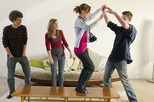 Kids having a party in a living room