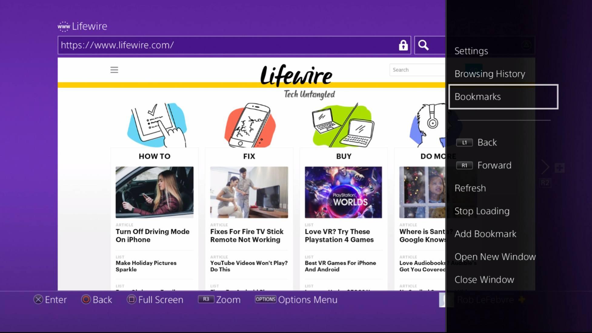 Bookmarks menu item in PS4 web browser menu