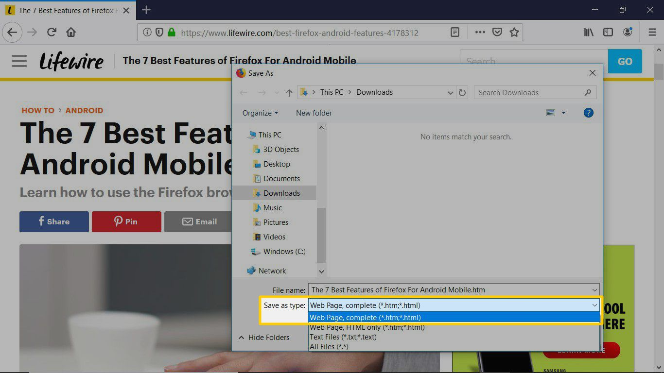 Save web pages in Firefox