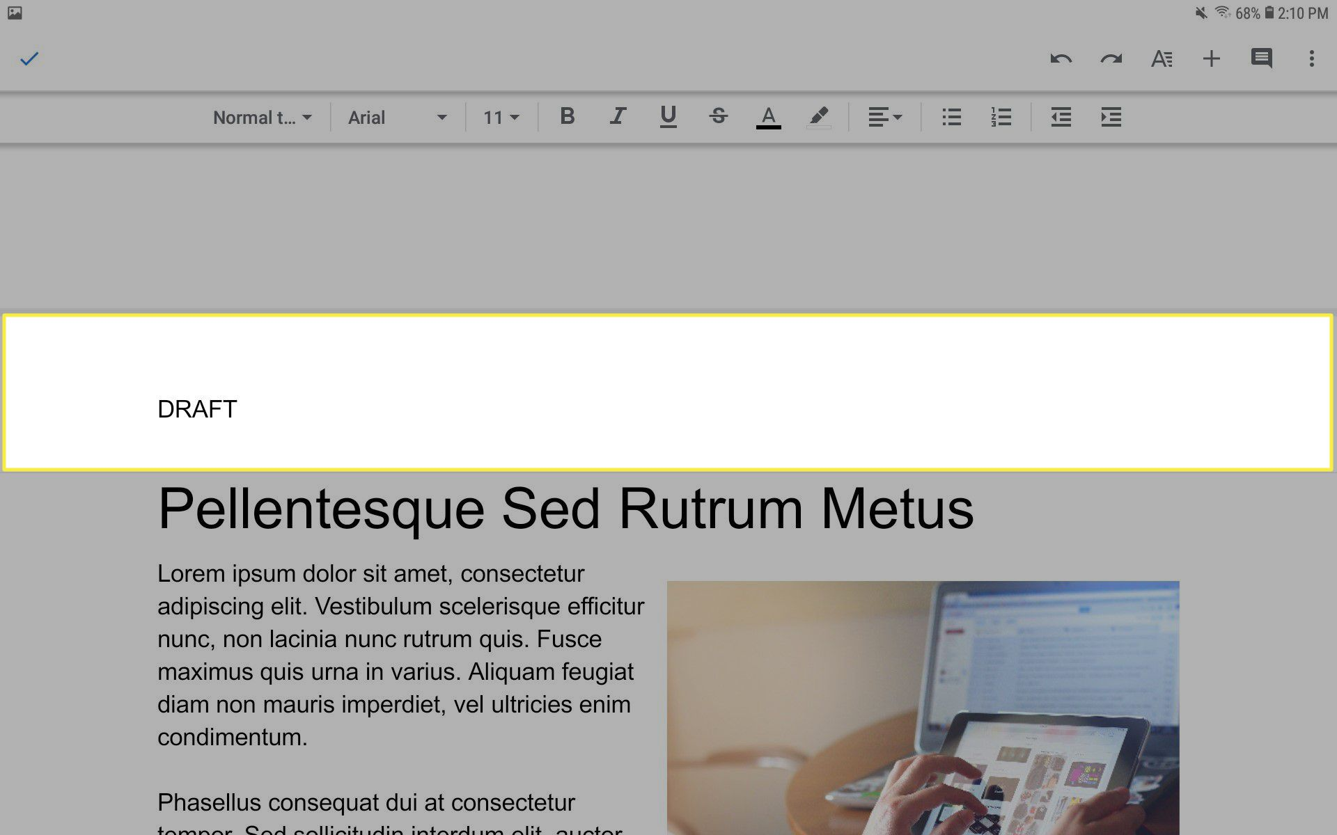 Add a header to multiples pages in the Google Docs mobile app