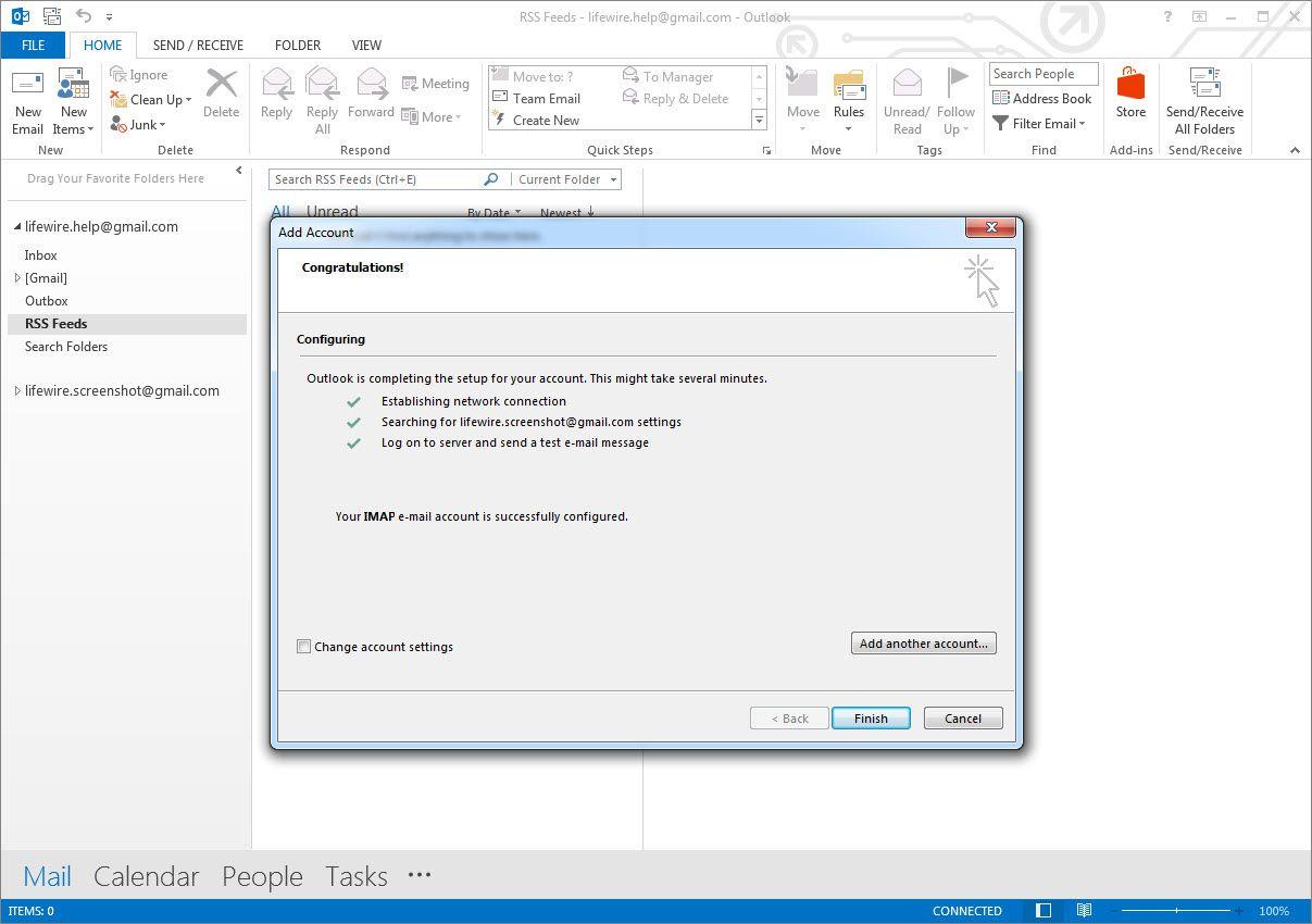 Outlook 2013 account add success screen