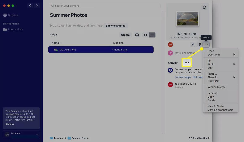The three-dot menu icon in Dropbox