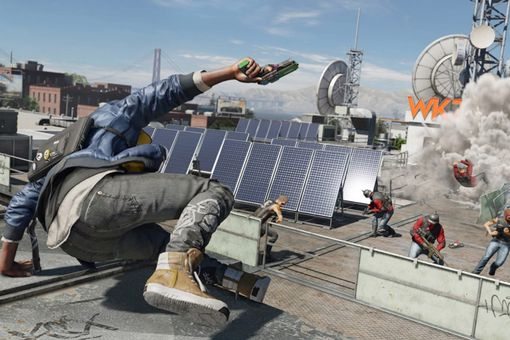 Marcus Holloway leaps into battle in Watch Dogs 2 for PS4.