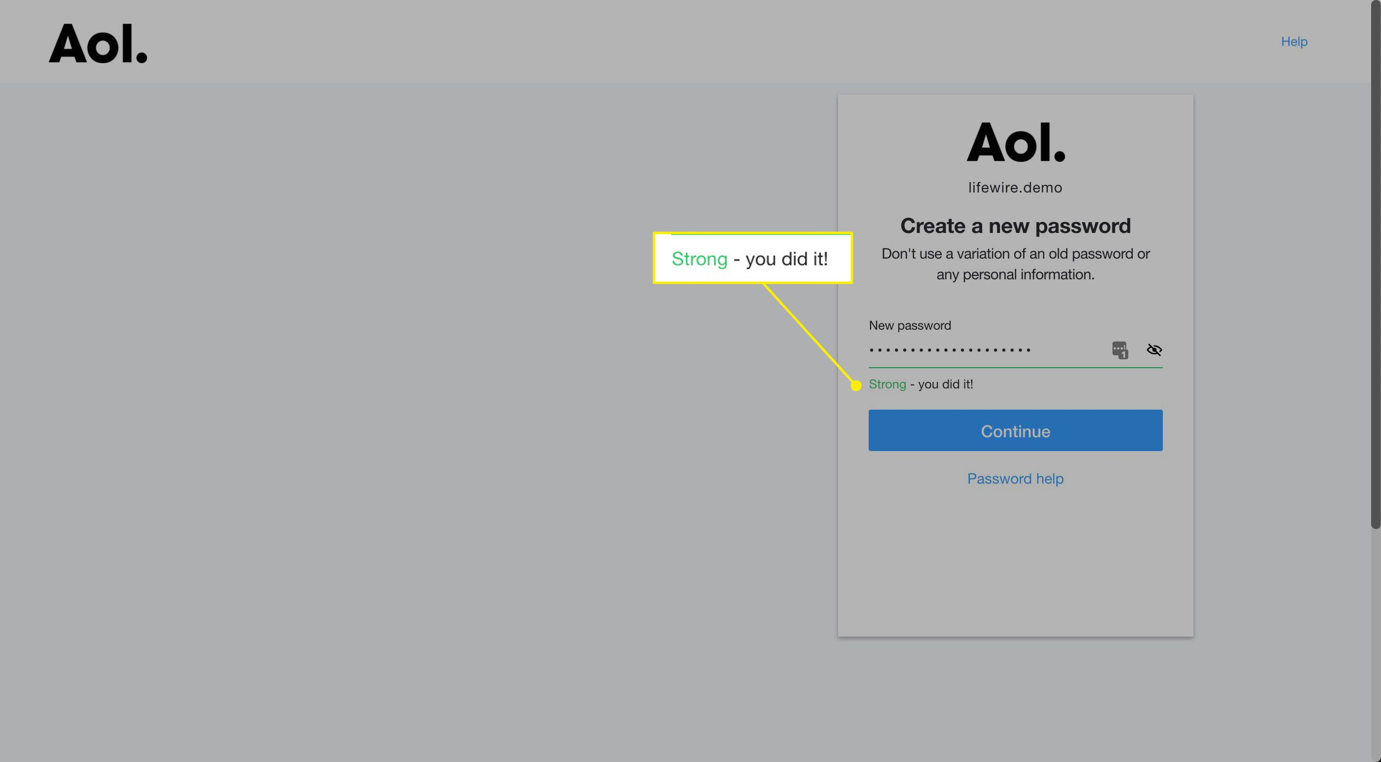 The password strength indicator on AOL