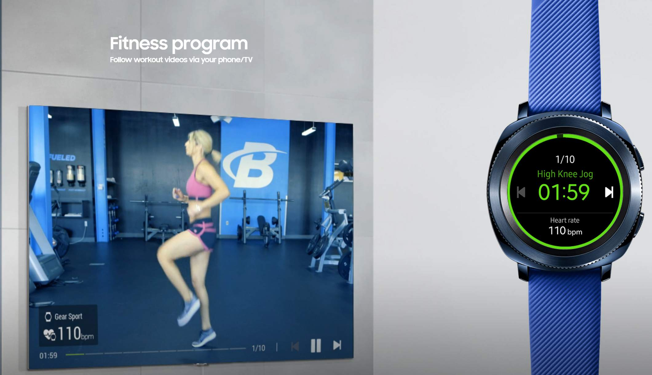 TV video showing a workout next to a Gear Sport watch tracking the workout.