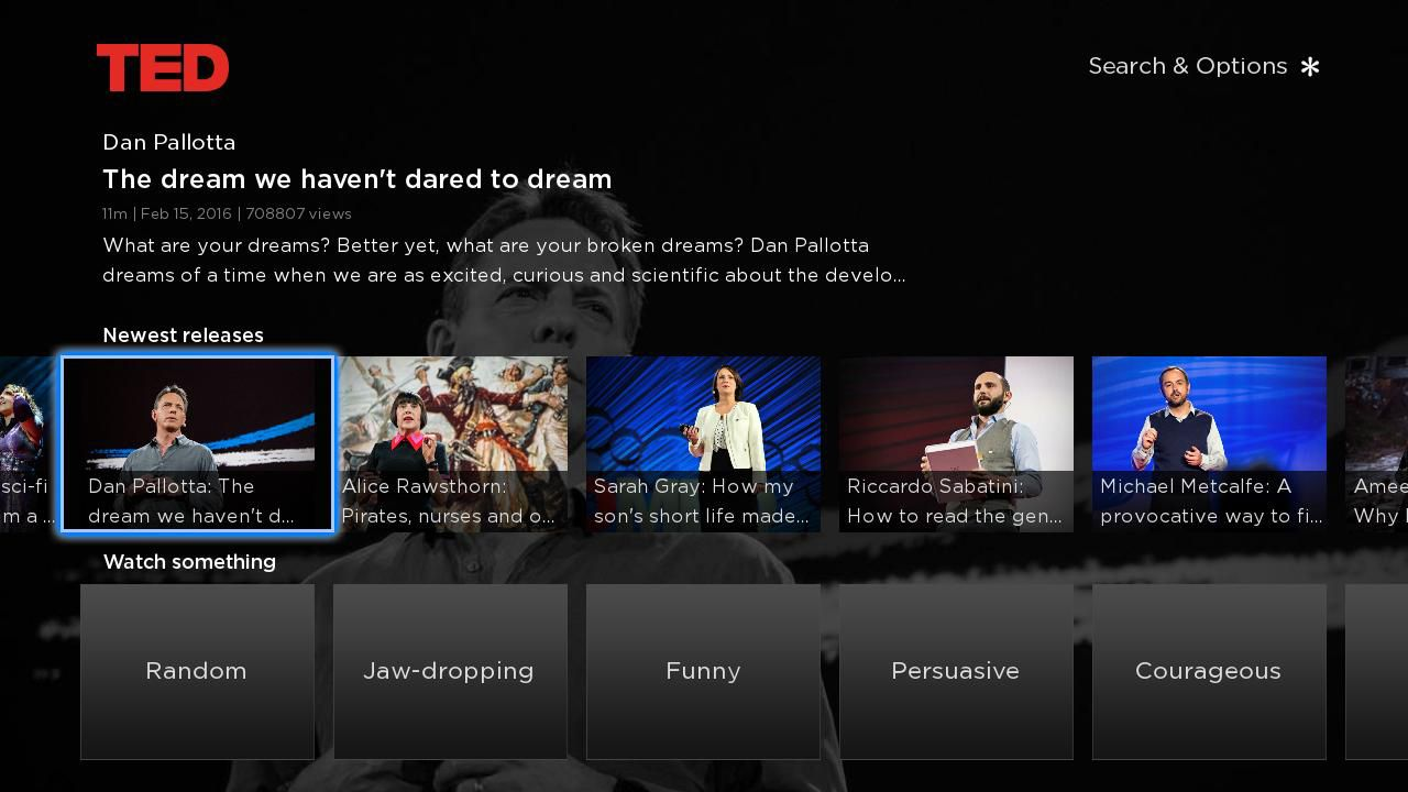 TED–Roku Channel Menu Example