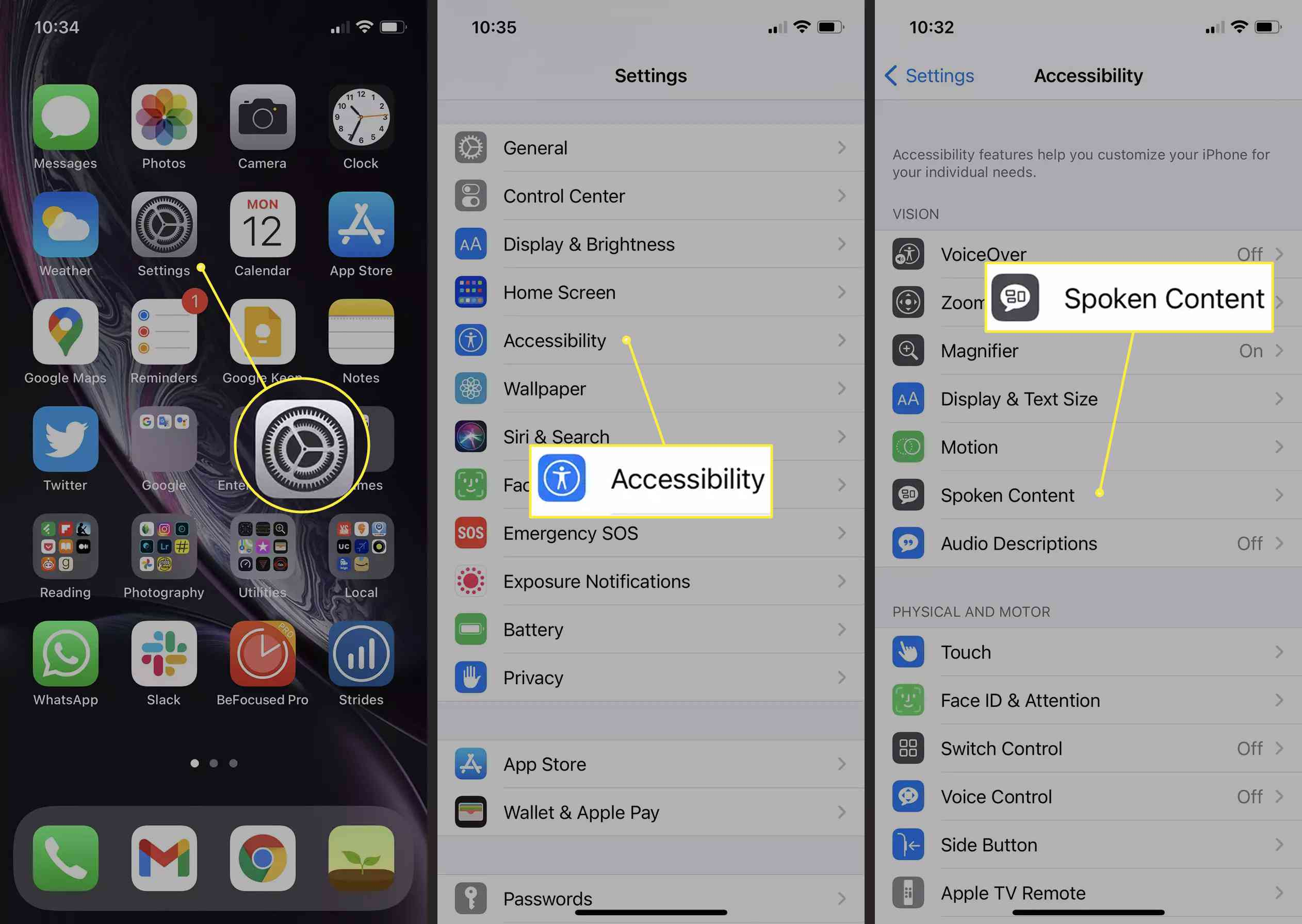 An iOS user accesses the Spoken Content settings