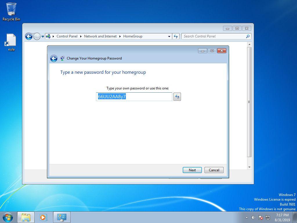 Windows 7 Change Workgroup password