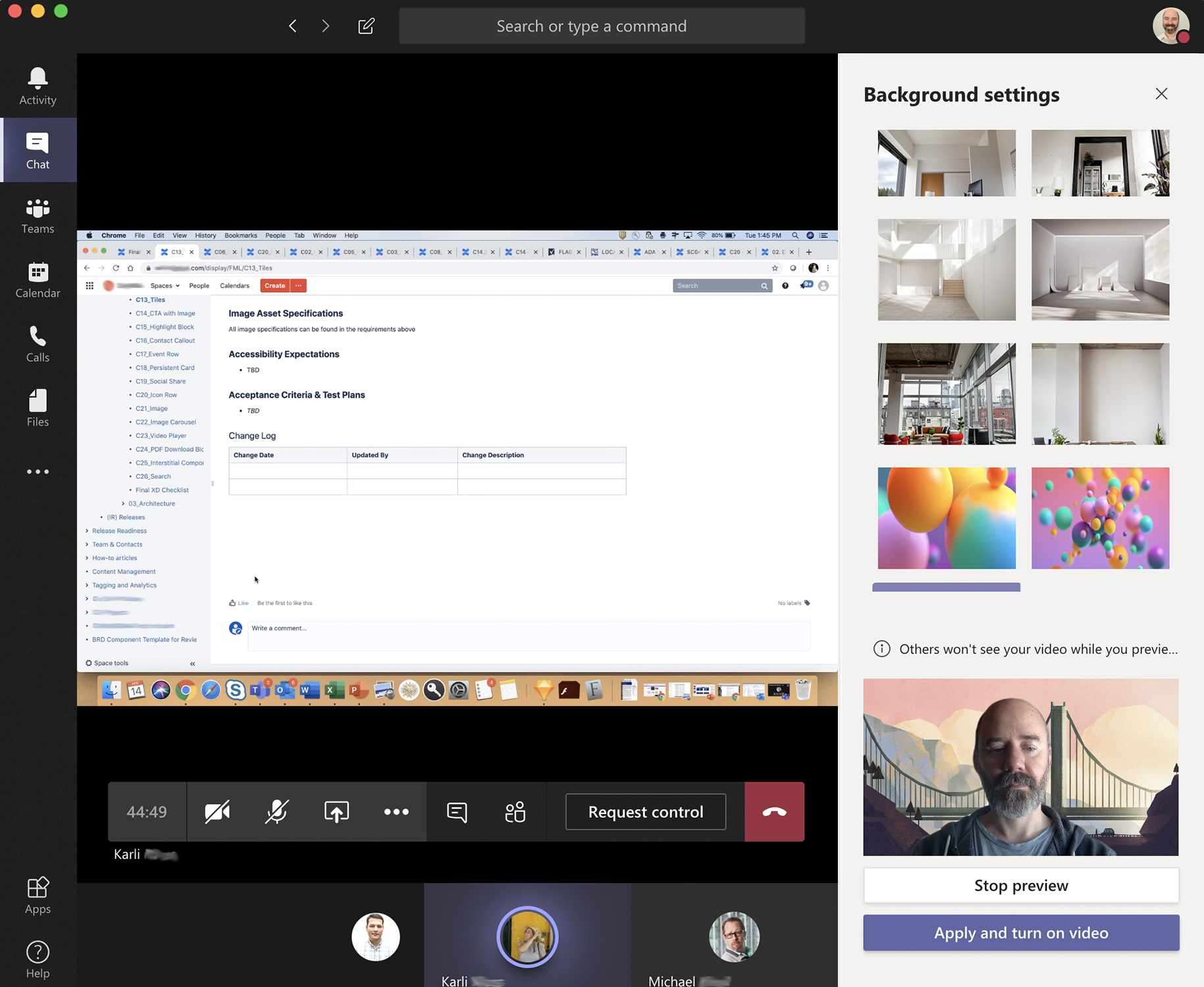 Screenshot of Microsoft Teams background effects preview