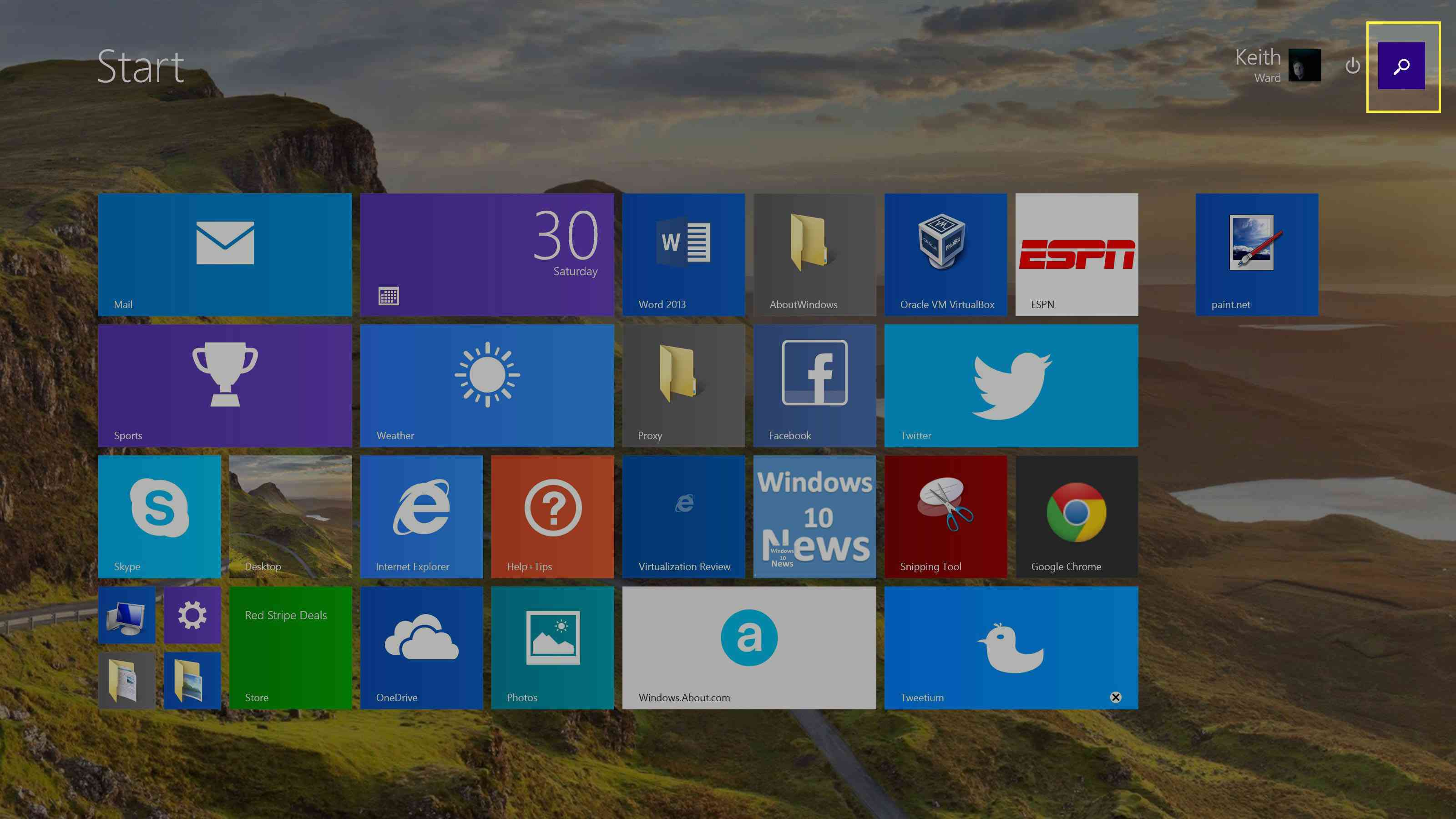 Select the magnifying glass on the Windows 8 Start menu.