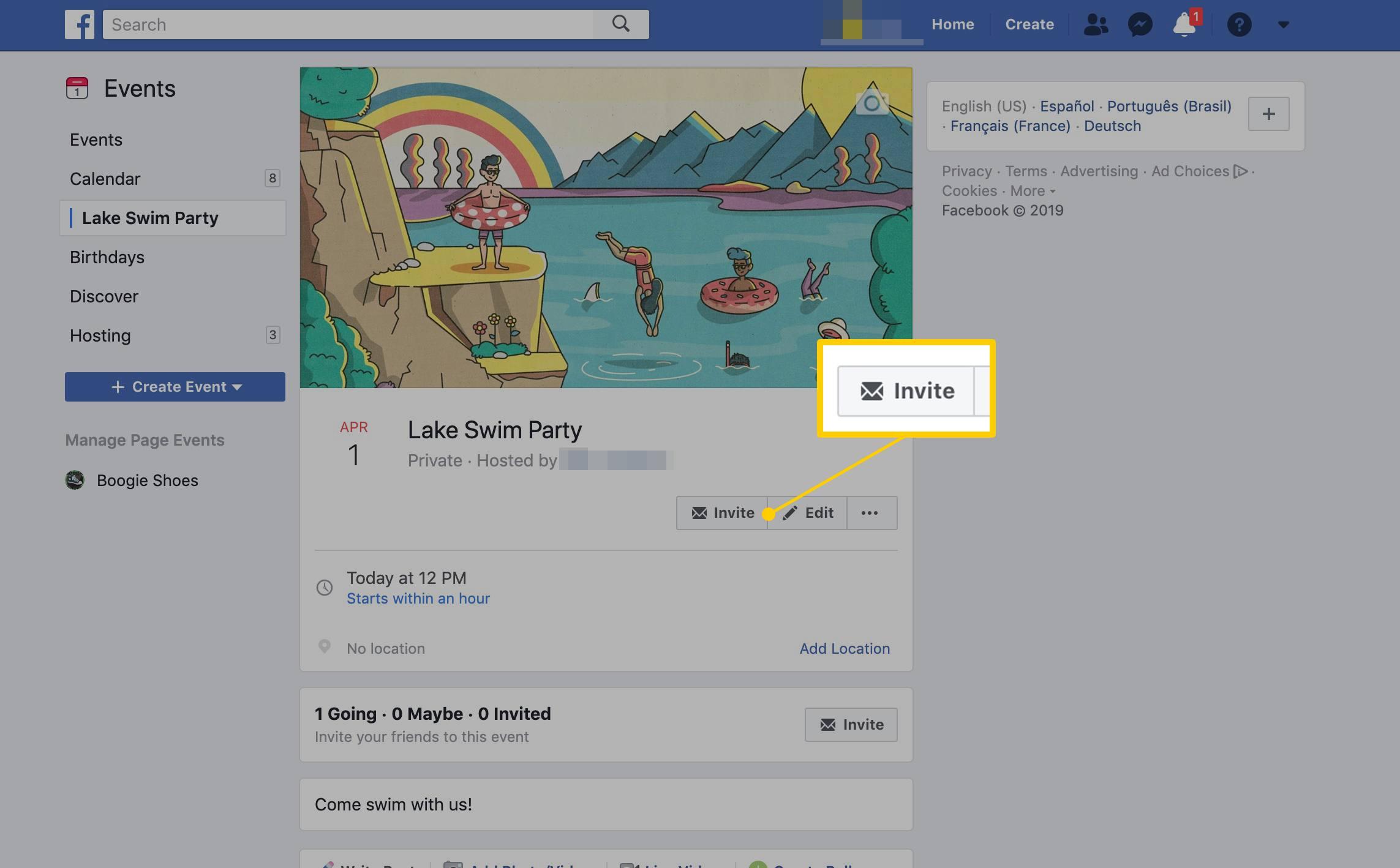 Invite button for a Facebook Event