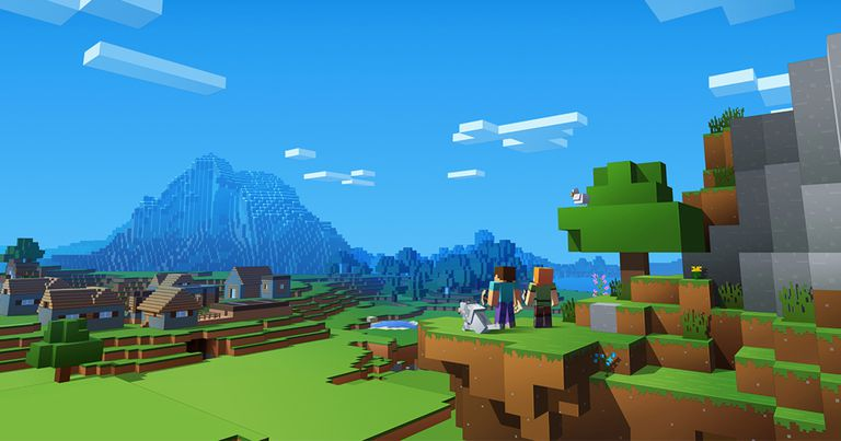 Screenshot of minecraft with characters near city before mountain
