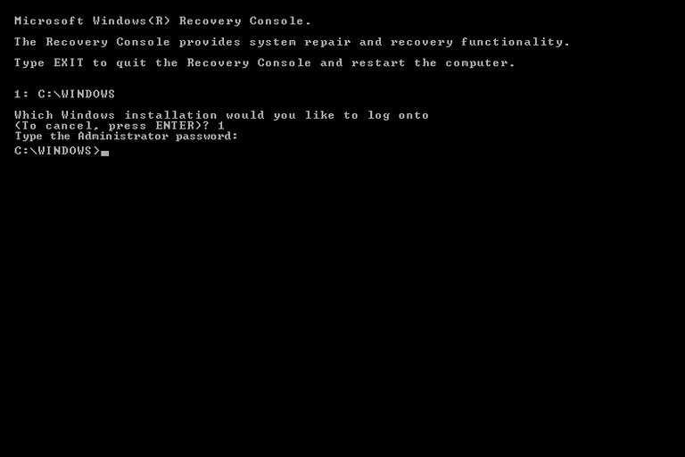Screenshot of the Windows XP Recovery Console