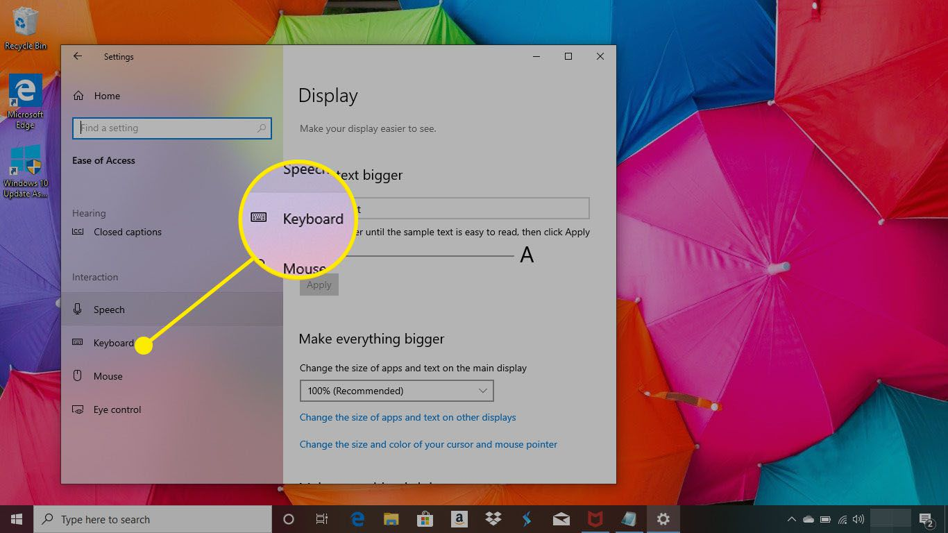 Ease of Use menu in Windows 10 with the Keyboard menu highlighted