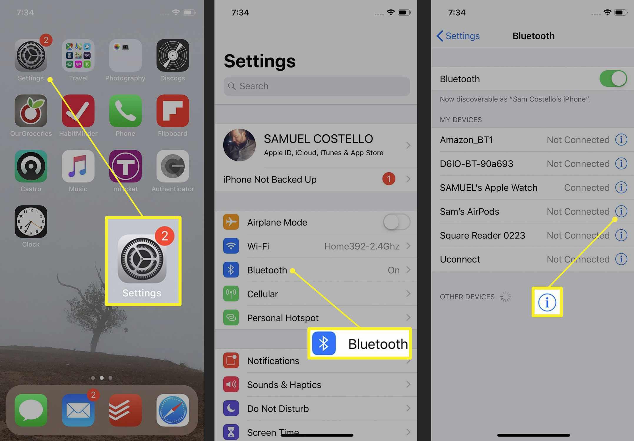 Bluetooth settings on iPhone