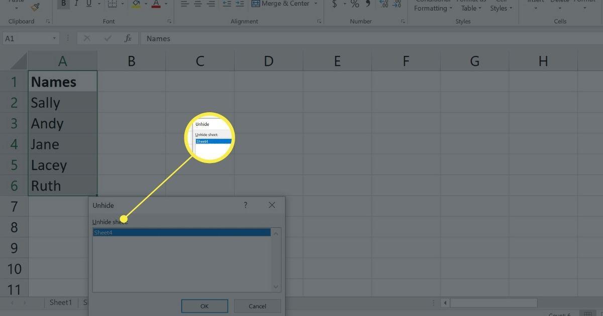 Excel's Unhide function via the right-click menu