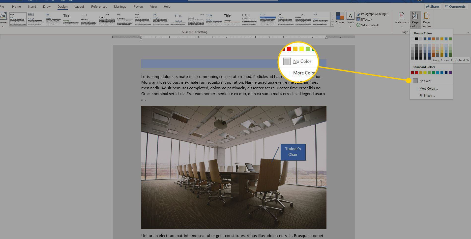 The Page Color menu in Word with the No Color option highlighted