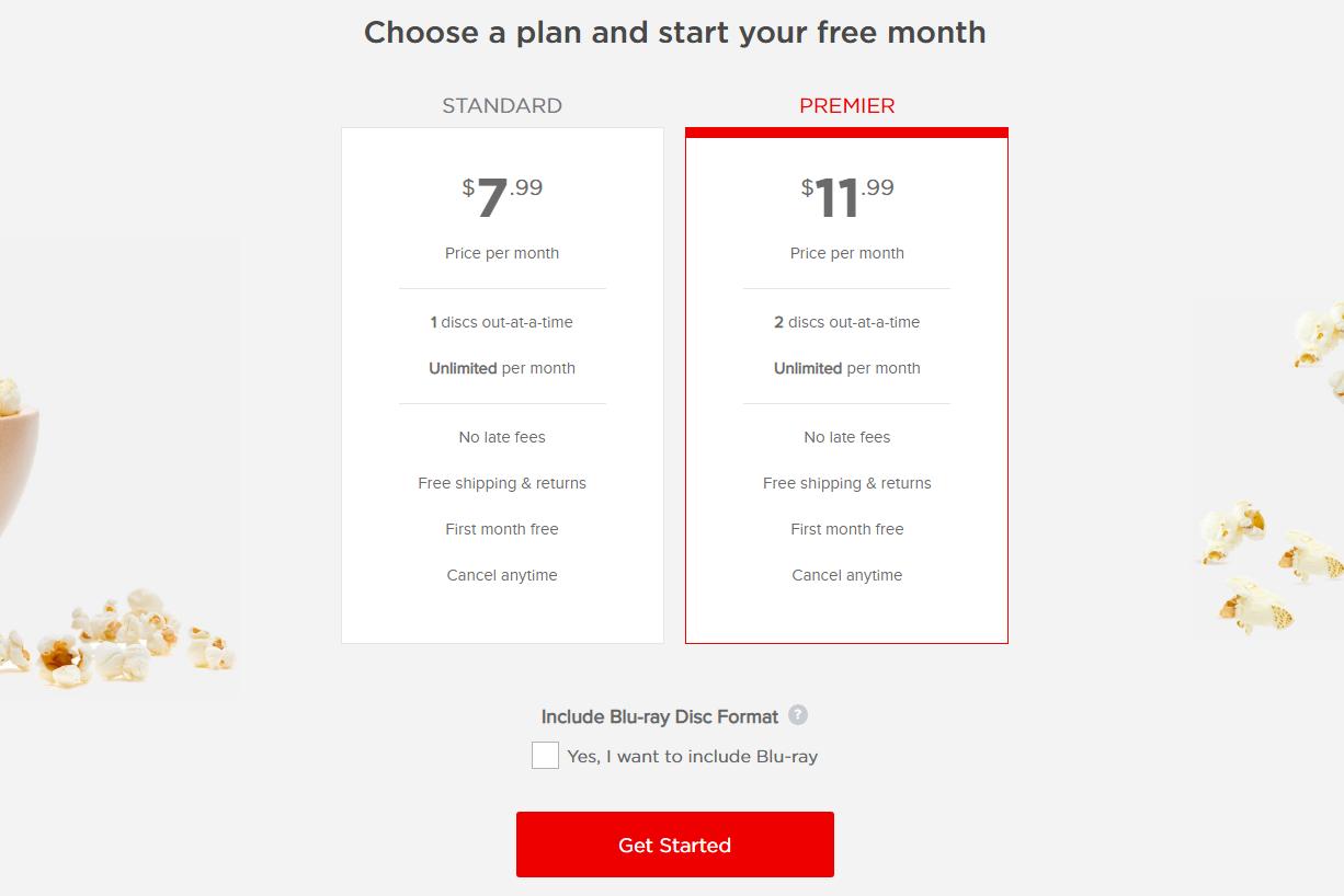 DVD Netflix free month options