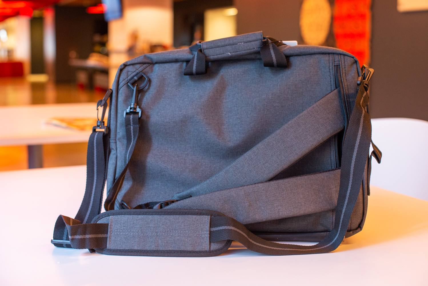 Versatility was a big draw for our testers with this lightweight laptop bag  — specifically, the ability to stow away the straps when you re not using  them. 68650b8773