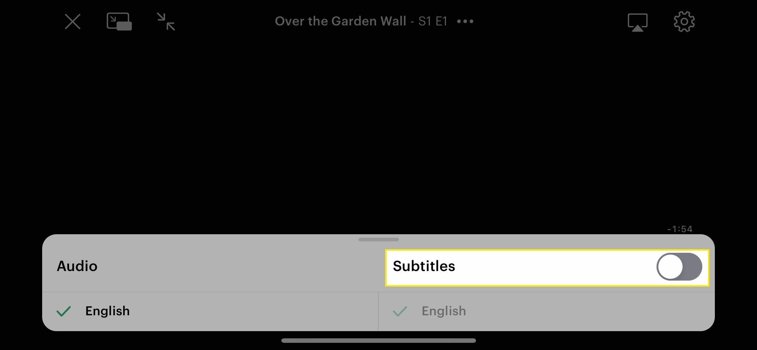 The Subtitles switch in the Hulu app for iOS