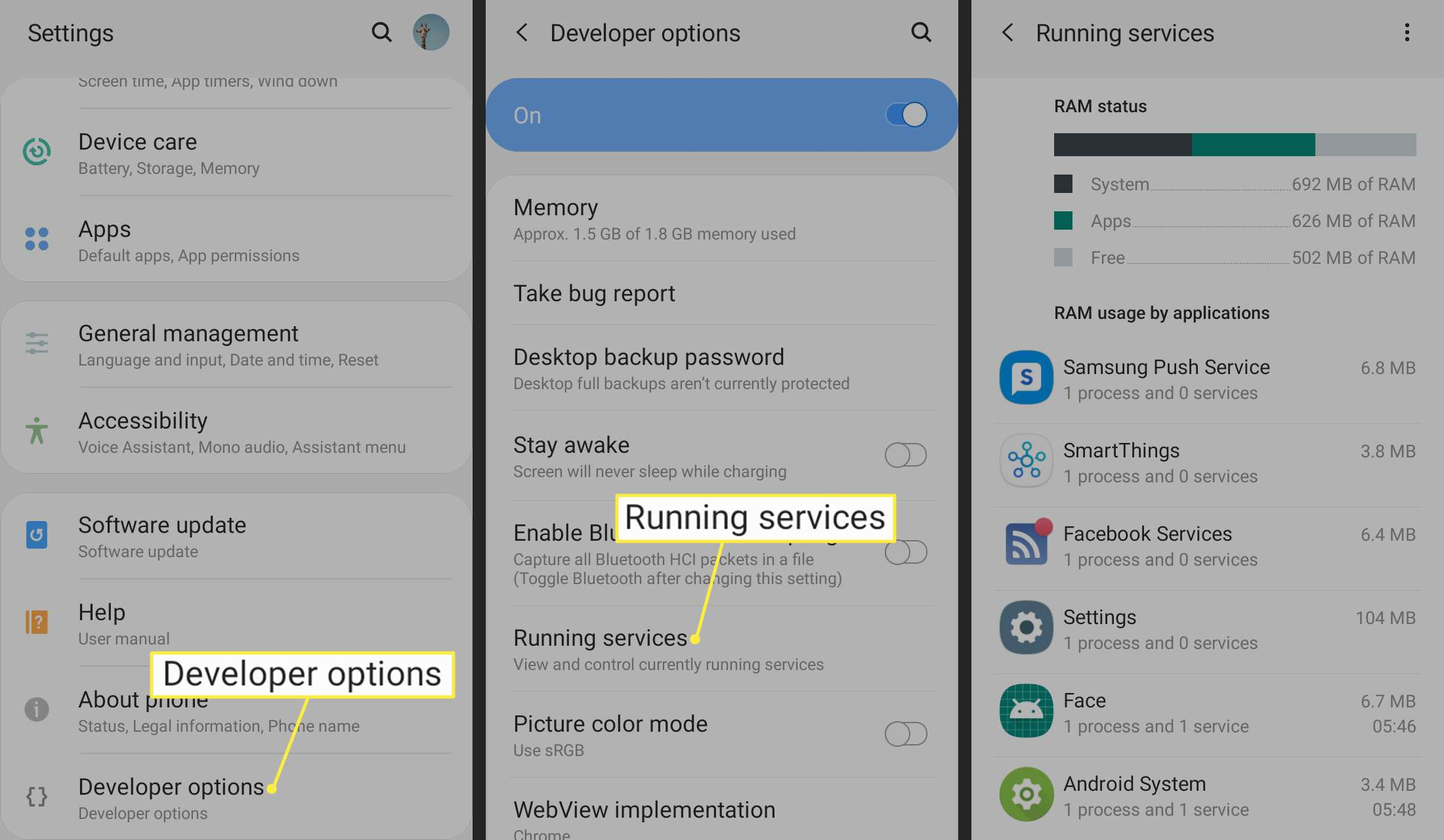 Developer options and Running services highlighted in Android settings