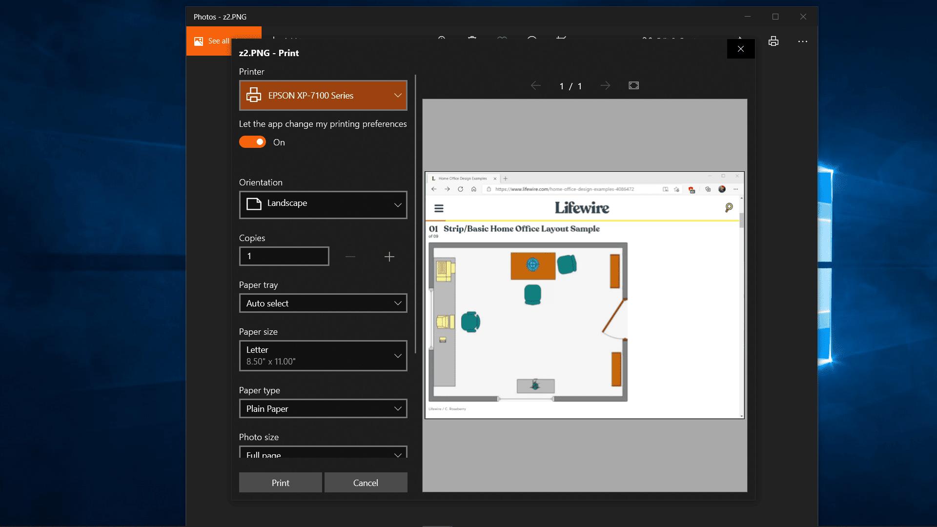 Printing a screenshot of an Edge window.