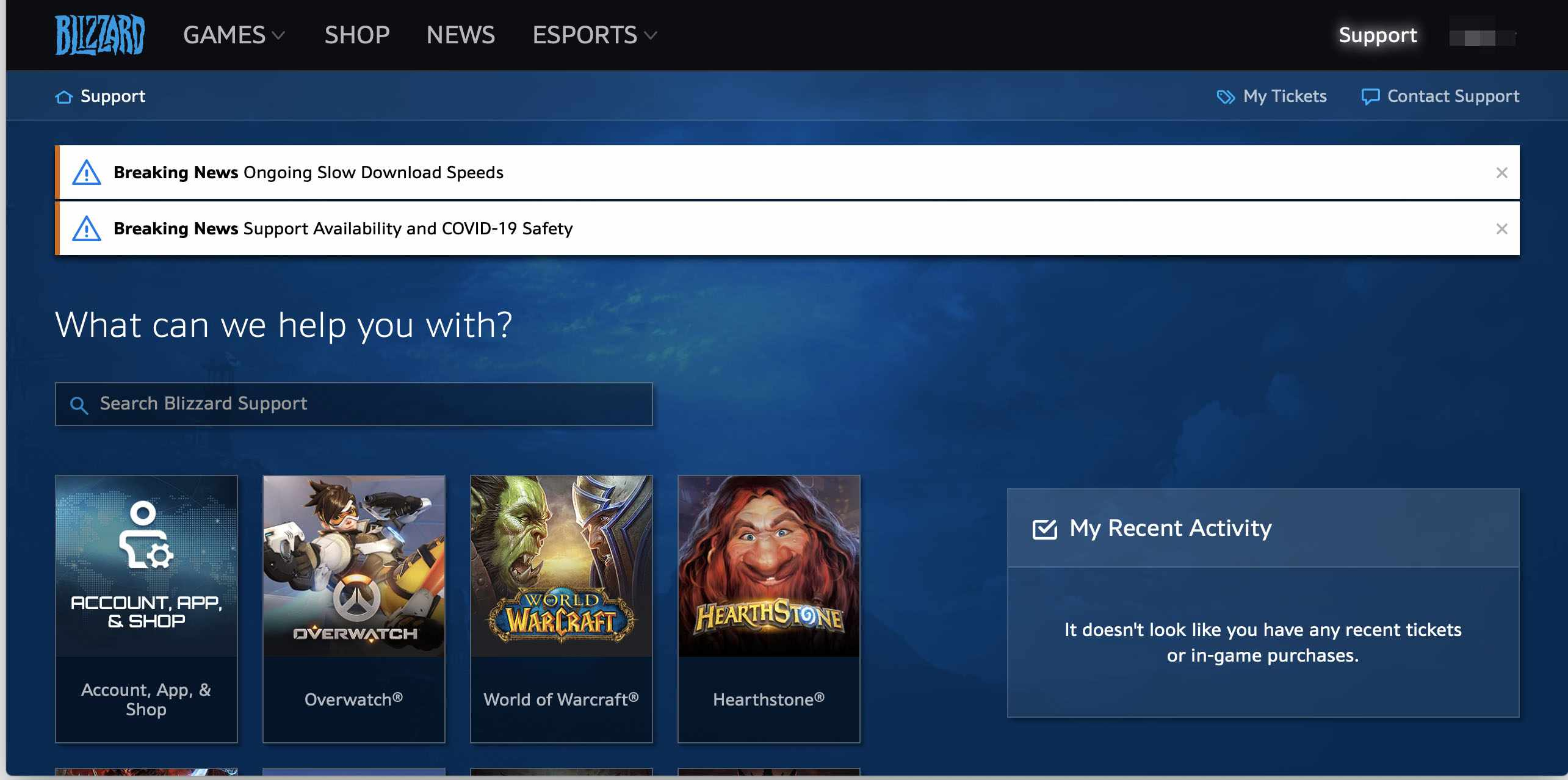 Battle.net support page