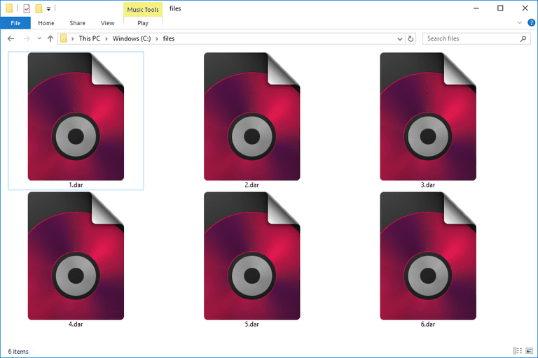 Screenshot of several DAR files in Windows 10 that open with VEGAS DVD Architect
