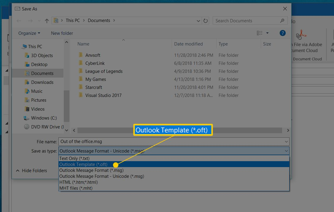 Outlook Template File type in Outlook