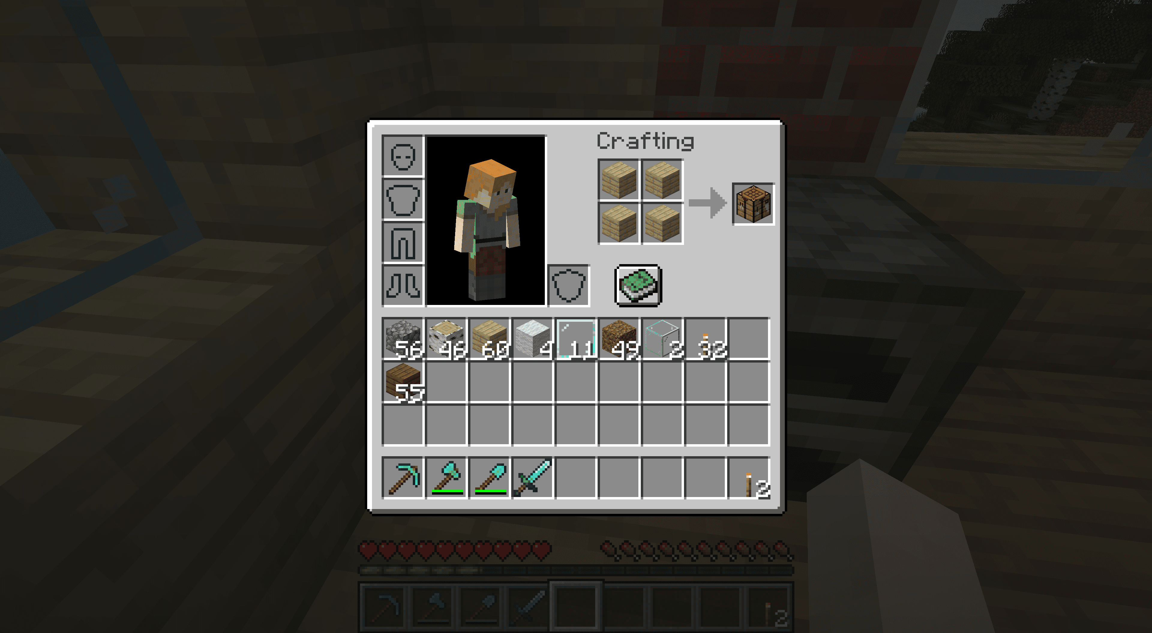 Crafting a crafting table in Minecraft.