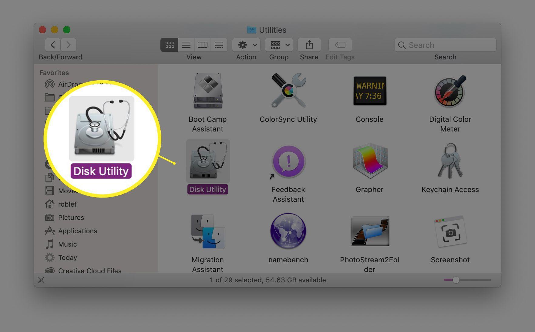 Disk Utility in macOS Finder window Applications/Utilities