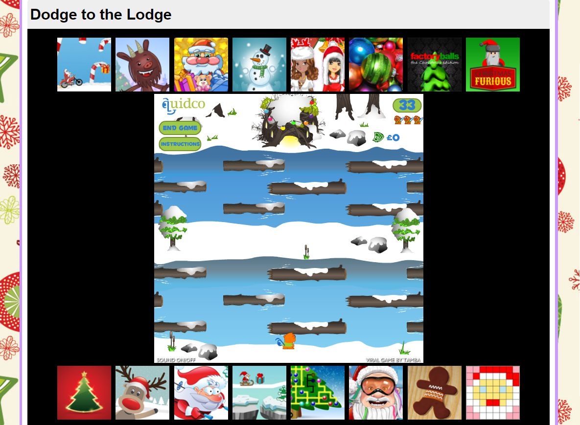 A screenshot of the game Dodge to the Lodge
