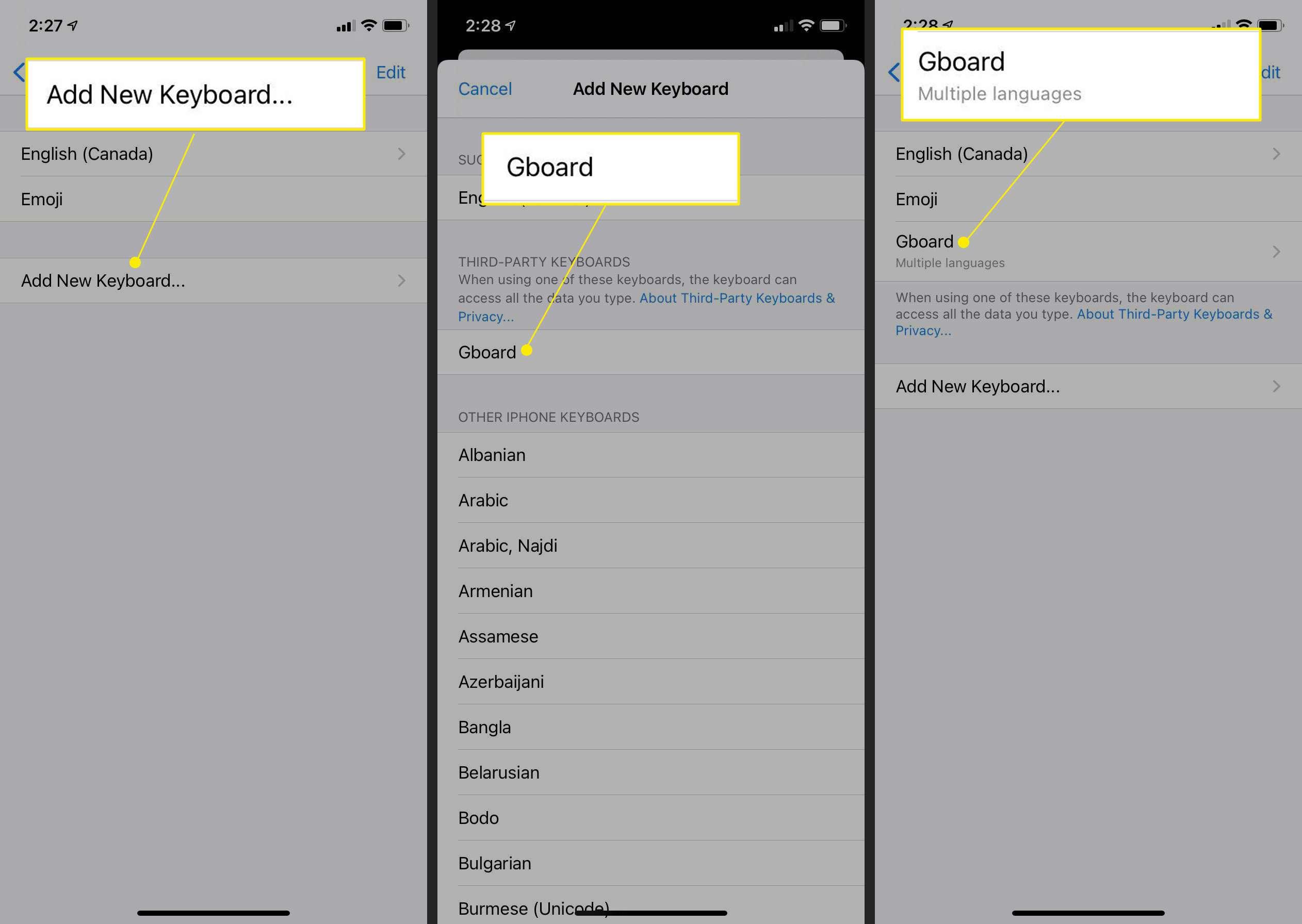 iPhone keyboard settings with