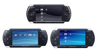 All three Sony PSP models in a single image.